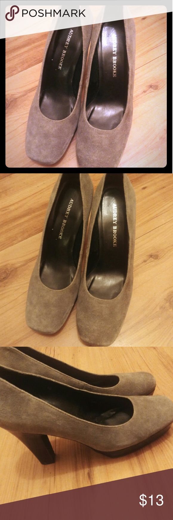 "Like New Gray Suede Heels by Aubrey Brooks Like New Gray Suede Heels by Aubrey Brooks.  Size 8, with a closed square toe and 3"" Heel height.  All reasonable offers are considered and appreciated. Aubrey Brooks Shoes Heels"