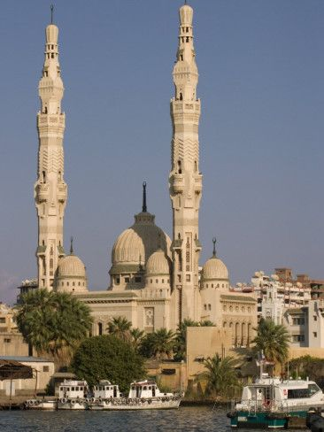 Port Fuad Mosque and the Suez Canal, Port Said, Egypt, North Africa, Africa.