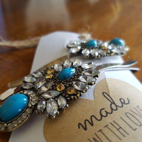Something blue! 'Lady Aquamarine' set of extra large hair clips www.madewithlovebybee.com
