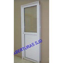 Puerta Aluminio Blanco 1/2 Vidrio Entero...