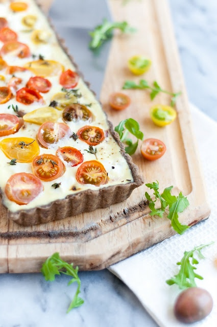 Caramelized onion, goat cheese, and heirloom tomato   buckwheat-thyme tart/quiche from Desserts for Breakfast