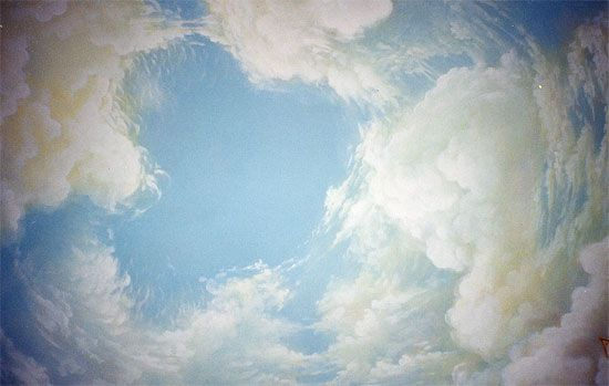Classic murals ceiling decorations sky trompe l 39 oeil for Cloud mural ceiling