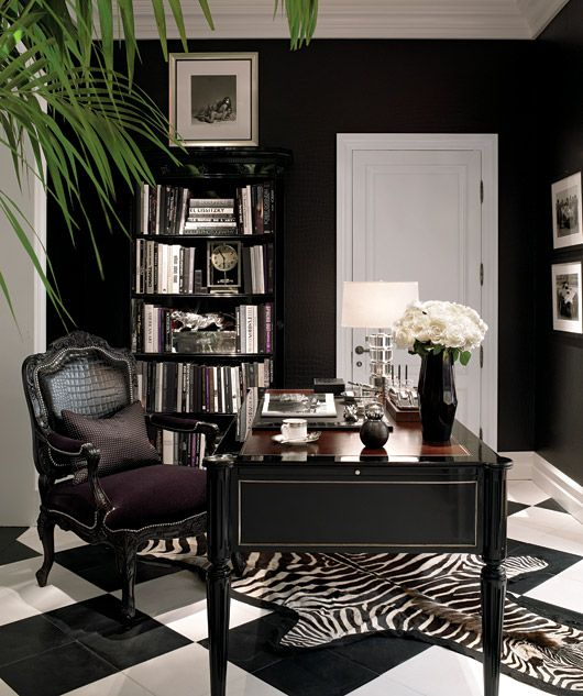 Home office decorating ideas women lauren black for Trendy office design