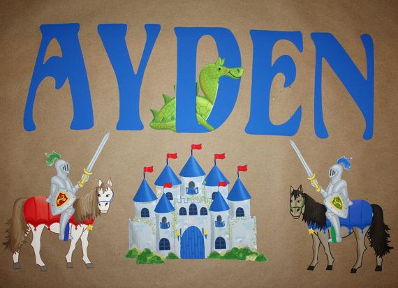 Fabric wall name decals knights castle dragon boys bedroom for Fabric for boys room