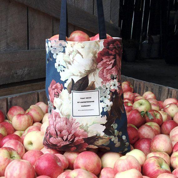 Letterario Tote Bag Floral Tote Wordsworth di ObviousState su Etsy