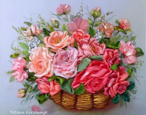 picture Basket with roses.Silk ribbon by SilkRibbonembroidery, €90.00