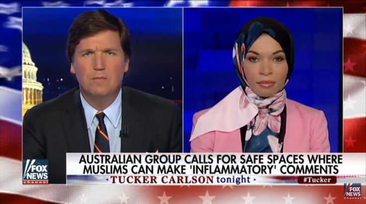 "With video. Tucker Carlson interviews Blair Imani, a black gay Muslim who argued for Muslim-only ""safe spaces"" and identified as black over American."