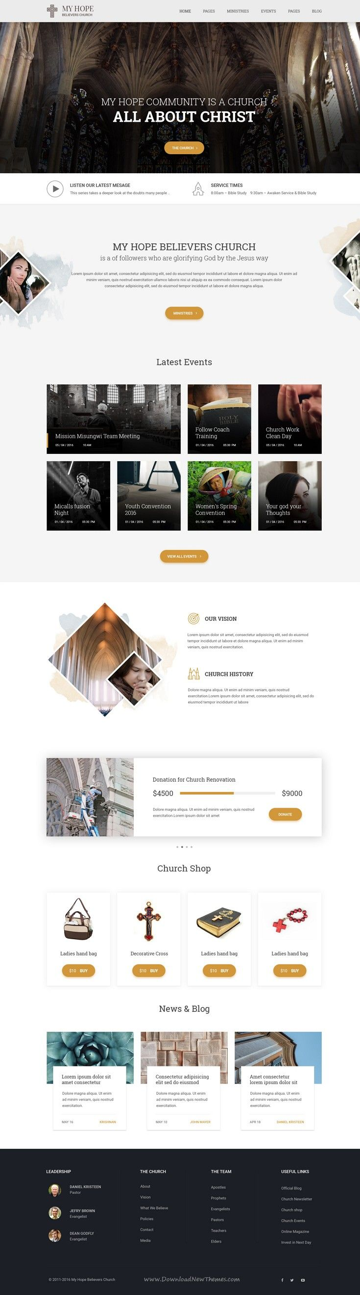 MY HOPE is wonderful PSD #template for #Church #website with two homepage variations and a total of 21 pages included. Download Now!