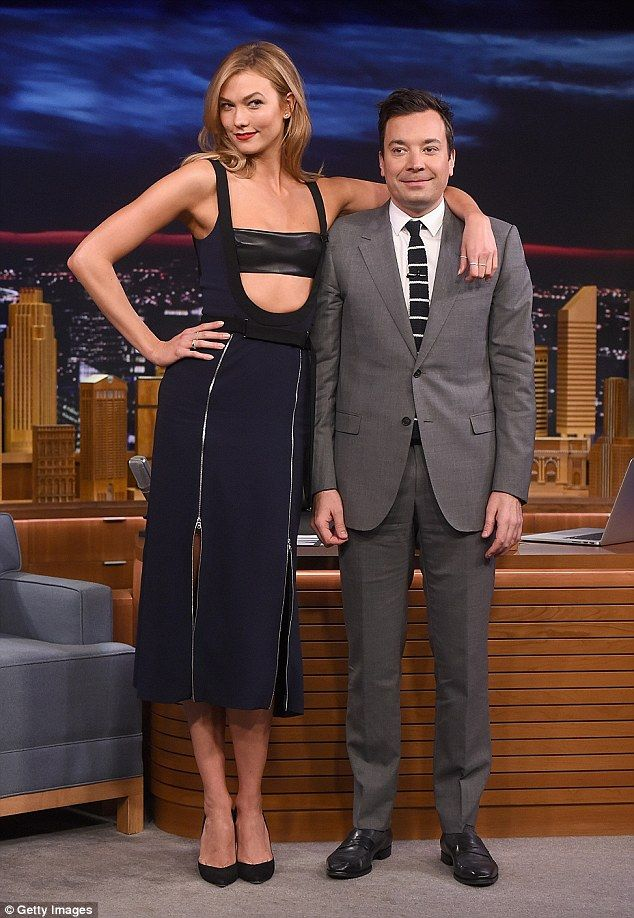 What height difference?The new face of Swarovski also had to have a little fun at the expense of the host, and seemed to enjoy draping herself over the much shorter Jimmy in front of his desk