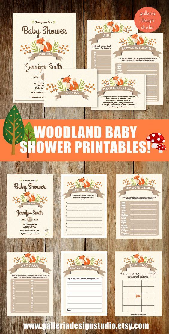 Woodland Baby Shower Printables! Just PICK and PRINT! #woodlandbabyshower #woodlandfox