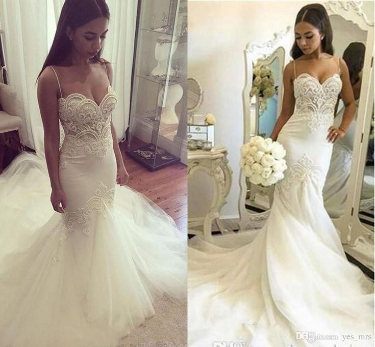 Perfect  New Sexy Plus Size Mermaid Wedding Dresses Spaghetti Straps Lace Appliques Pearls Tulle Backless Long