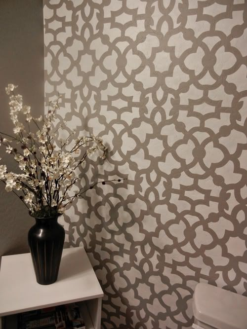 wall: Wall Stencil, Stencil Patterns, Bathroom Wall, Moroccan Stencil, Wall Paintings, Paintings Projects, Gray Paintings, Powder Rooms, Accent Wall