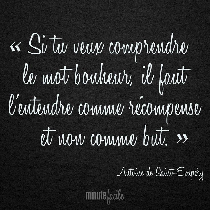 """""""Si tu veux comprendre le mot bonheur, il faut l'entendre comme récompense et non comme but.""""  Antoine de Saint-Exupéry   #Citation #QuoteOfTheDay - Minutefacile.com"""