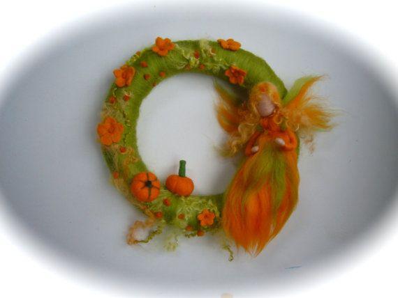 Pumpkin Fairy  Wreath . Needle Felted. by FilzArts on Etsy, $39.50
