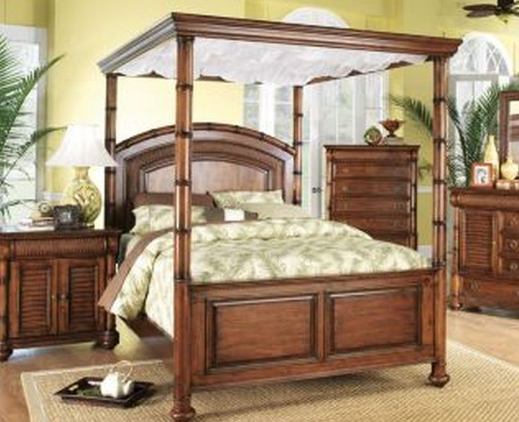 Cindy Crawford Home Key West Tobacco Canopy 6 Pc Queen Bedroom