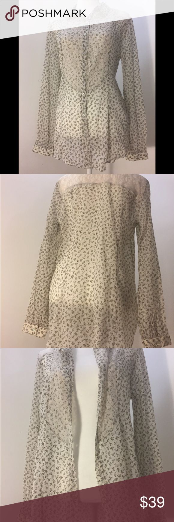 Free People Floral/Lace Button Up Long Sleeve New with Tag: Free People Floral & Lace Button Up Long Sleeve Shirt  No holes, no stains Smoke Free Home  ***Provided measurements in picture are for reference only and are not exact. Please reference brand website for details on sizing. Free People Tops Button Down Shirts