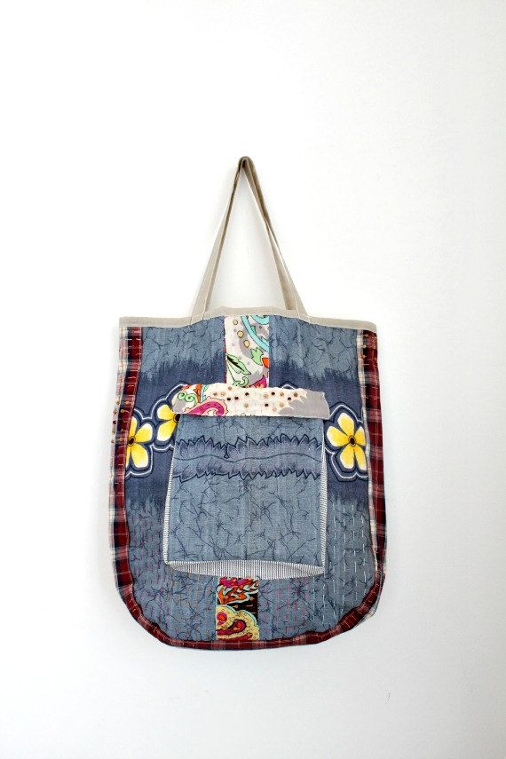 Ooak Cotton Beach Bag No.10 by LoveandKnit on Etsy