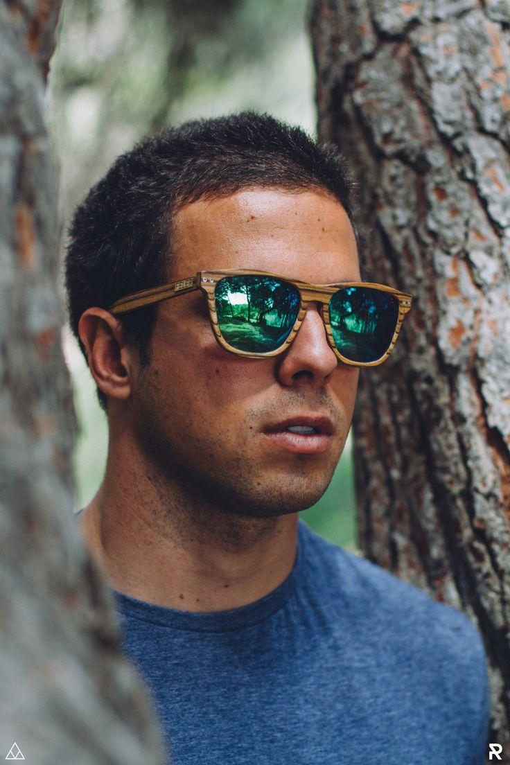 Gafas de Madera Feler Sunglasses - Regular Zebrano Verde Espejo