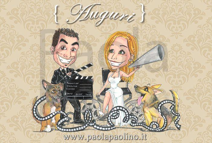 Divertente #caricatura di #sposi amanti del #cinema, con i propri amici a 4 zampe! #caricature #caricaturista  www.paolapaolino.it