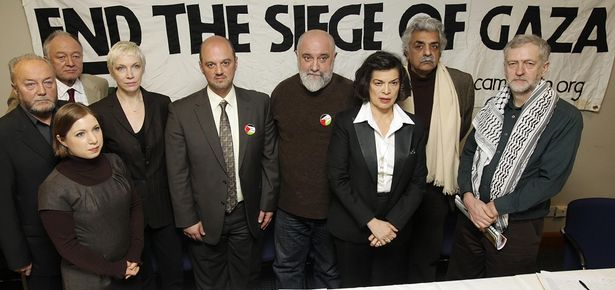George Galloway, Ken Livingstone, Liberal Democrat Sarah Teather, singer Annie Lennox, Chief Executive of the Cordoba Foundation Anas Altikriti, comedian Alexei Sayle, human rights campaigner Bianca Jagger, writer Ariq Ali and Jeremy Corbyn following a press conference with organisers of national demonstrations set for Saturday across Britain against Israeli military action on Gaza