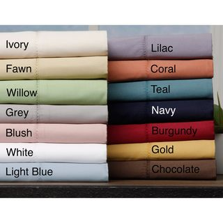 Hemstitch 400 Thread Count Sateen Cotton Sheet Set - Fawn and Chocolate (Overstock.com) $35.99