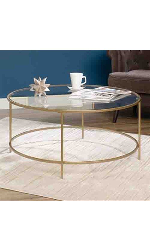 Round International Lux Coffee Table Clear Glass Top and Gold Finish Metal by Sauder Best Price