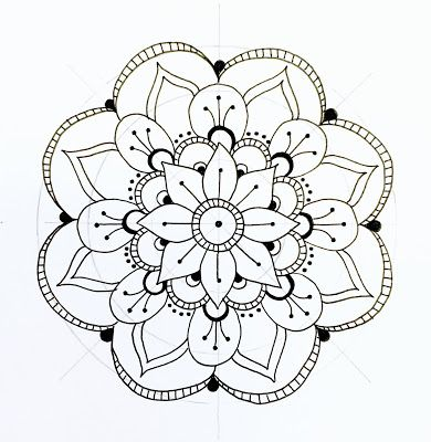 "step-by-step mandala from a great blog called ""...all the GOOD blog names were taken..."" lol! (ok, yes, totally conceited to pin MYSELF but this is a great EASY way to draw mandalas!!!) :)"