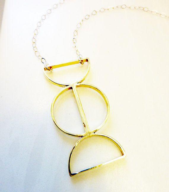 Brass Semi-Circles Necklace Geometric Everyday by RedAvaDesigns