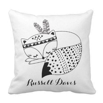 Sleeping Baby Fox Tribal Woodland Forest Nursery Throw Pillow - decor gifts diy home & living cyo giftidea