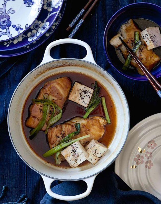 "Black Cod with Sake, Soy Sauce and Sugar | Chef Masaharu Morimoto, famous chef, restaurateur and author shares this easy dish.  ""I like to break with tradition and reduce the cooking liquid into a more intensely flavorful sauce."""