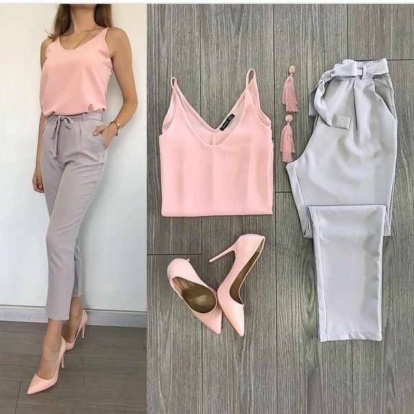 Love this work, pink and gray stylish shoes to top it off #Stunning # …   – Outfit ideen