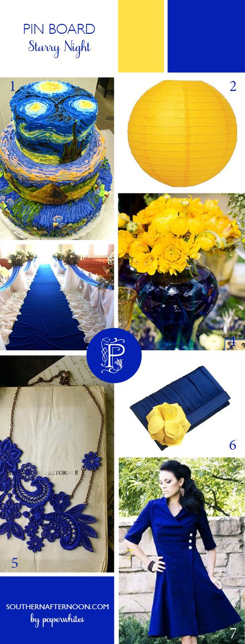 Cobalt blue and bright yellow inspiration board with an AMAZING Van Gogh inspired cake, yellow flowers, cobalt bridesmaid dress, crocheted jewelry..Love it!