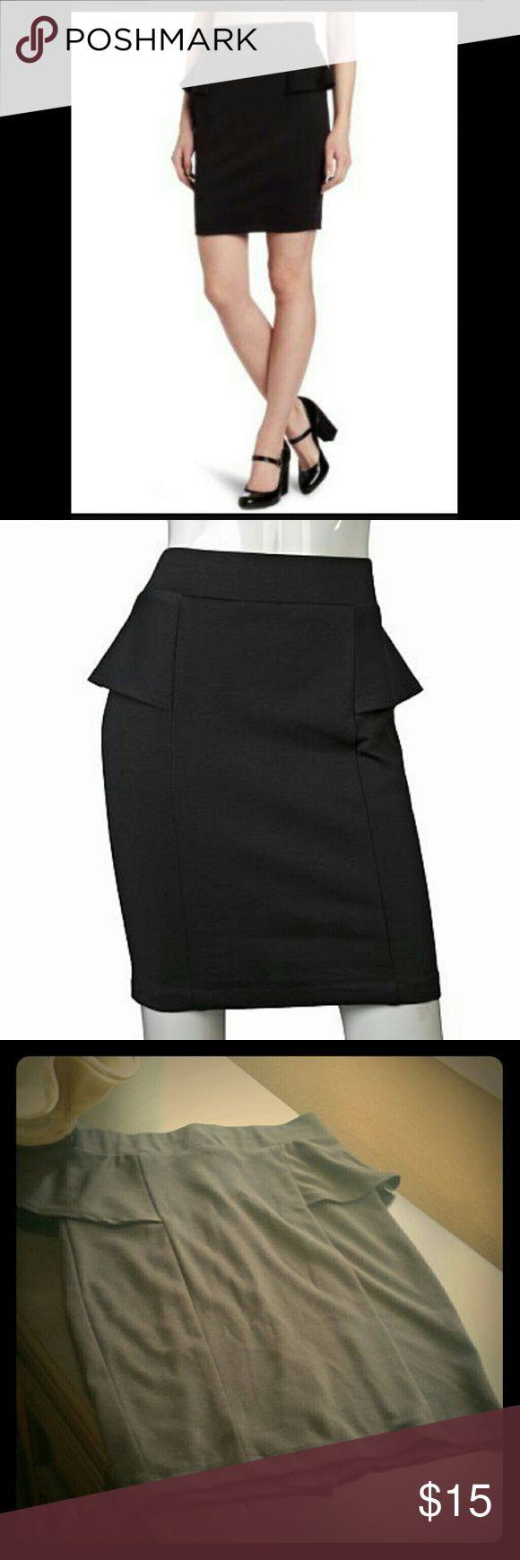 A. Byer Black Peplum Skirt A. Byer black peplum skirt. Stretchy to hug all the curves. Sexy little slit in the back. Size small. Skirts Pencil