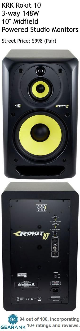 "KRK Rokit 10 3-way 148W 10"" Midfield Powered Studio Monitors (Pair). These are one of the highest rated powered studio monitors on the market."