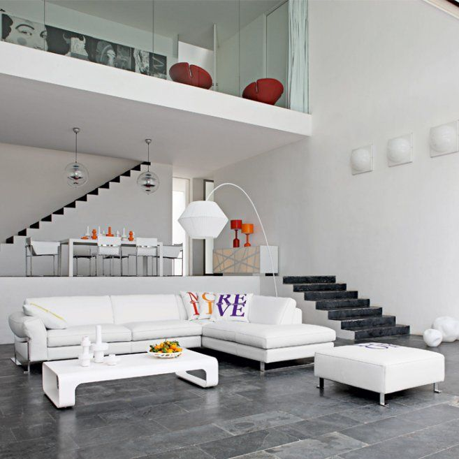 Living Room Contemporary Design With Sofa By Roche Bobois Spacious Loft House Interior Decor Furnished White