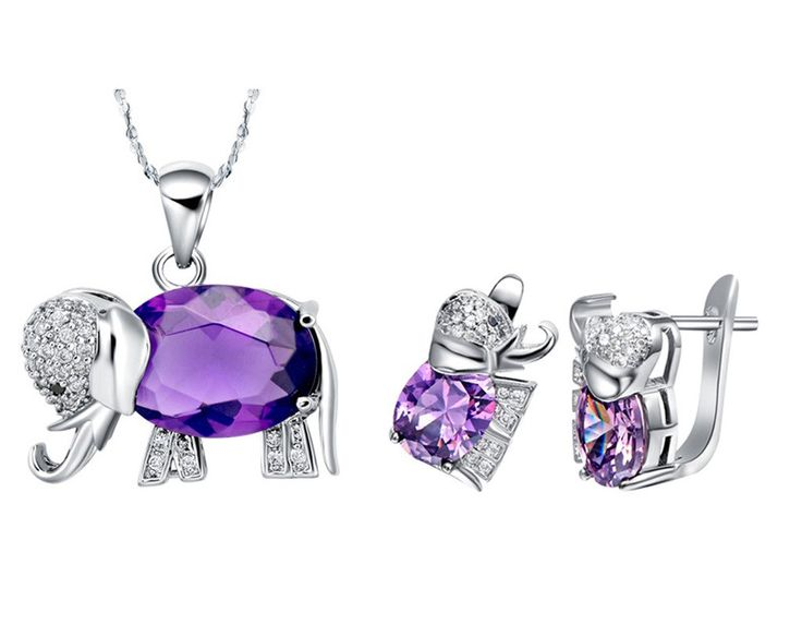 Layla Jewellery 18k White Gold Plated Alloy Swarovski Elements Crystal Jewelry Set include Pendant Necklace and Stud Earrings for Ladies Blue(Elephant): Jewelry: