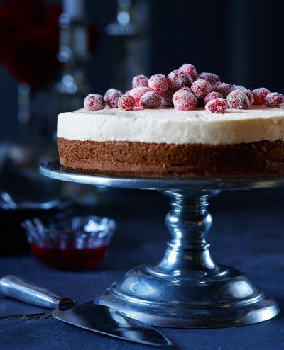 Frozen berry cheesecake in a deep blue set. By Vince Noguchi for Food & Drink Magazine, LCBO