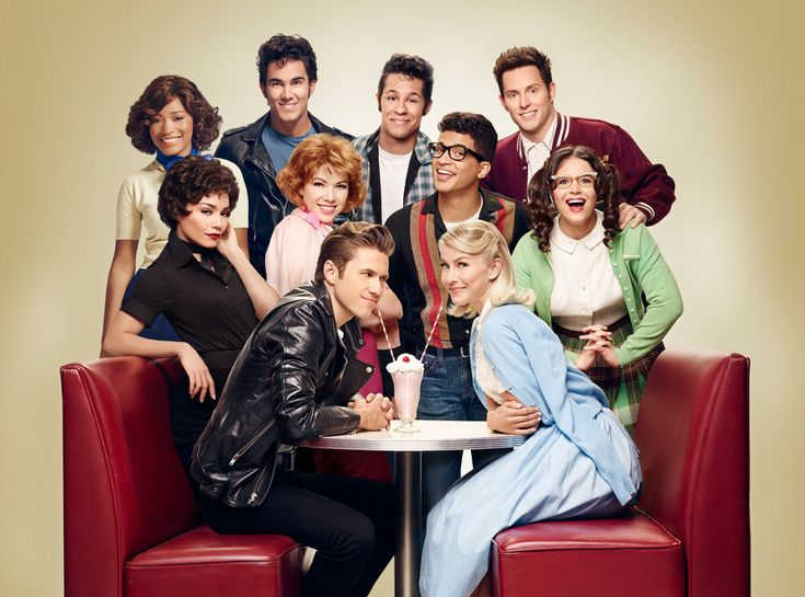 Vanessa Hudgens, Julianne Hough and the rest of their costars playing the Pink Ladies in Grease: ...