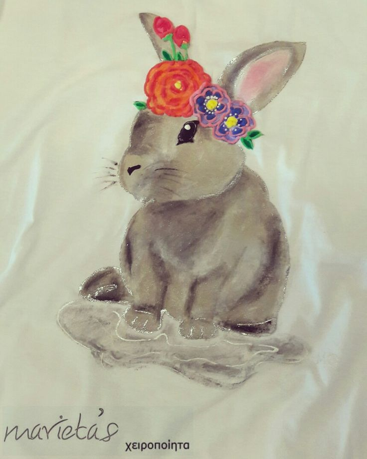 #handpaintedtshirt, #cutebunny. . #flowers