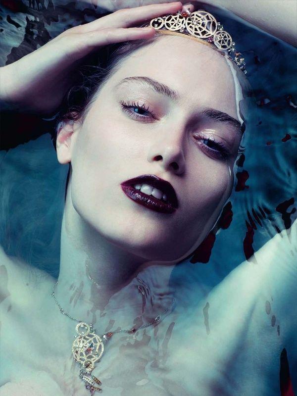 Clara Buchanan by Bruno Dayan #makeup #portrait #beauty #dark #lipstick #water #ophelia