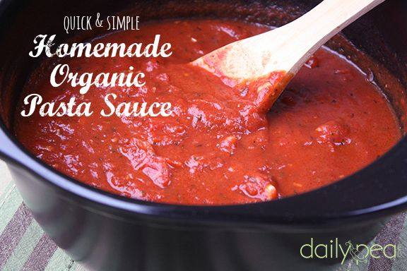 It doesn't take all day to make this delicious and healthy homemade organic pasta sauce. In fact, it only takes about a half hour and only calls for a few simple ingredients that you probably have sitting in your pantry right now.