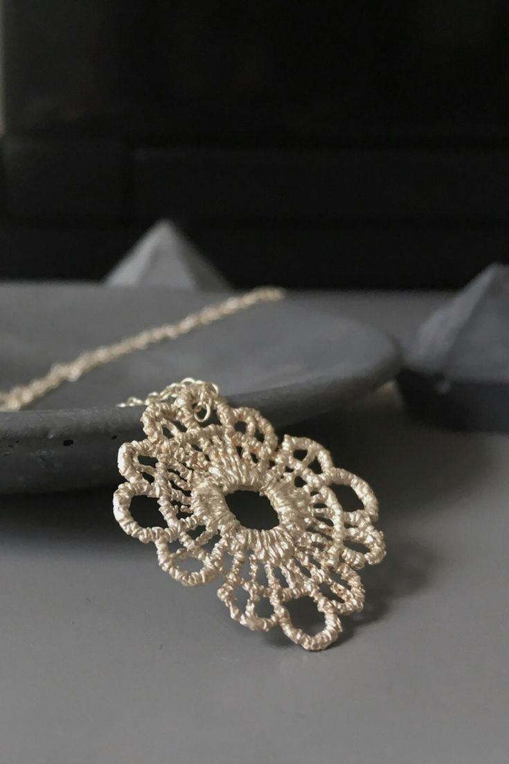 Lace necklace-Boho chic pendant-Silver filigree necklace-Long statement pendant-Gift for her