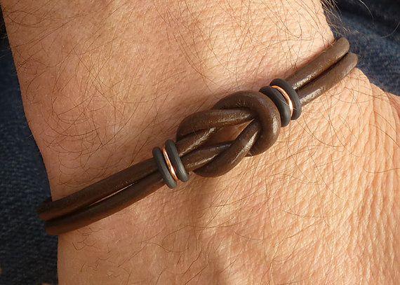 Celtic Bracelet Uni Mens Brown Leather Copper For Men Jewelry