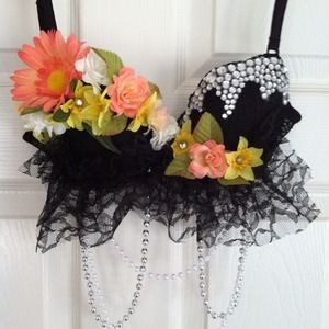 I like the lace, would lose the flowers and go for some studs instead