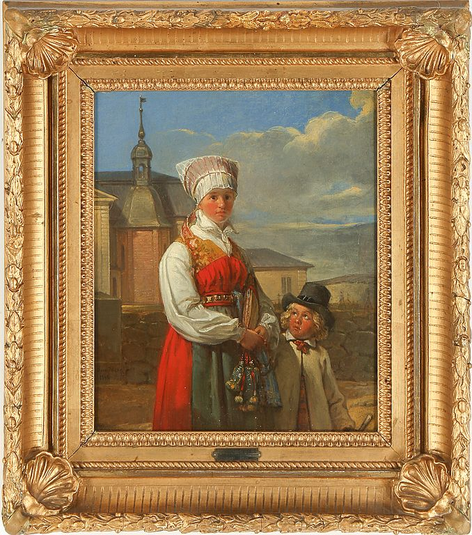 Painting by Johan Gustaf Sandberg (1792-1854), woman and boy, signed and dated 18?. Sold at Bukowski market, Feb 2015
