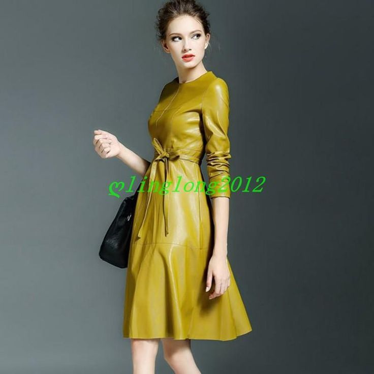 2 Color Womens Faux Leather Long Sleeve High End Belt Office Skirt Outwear Dress