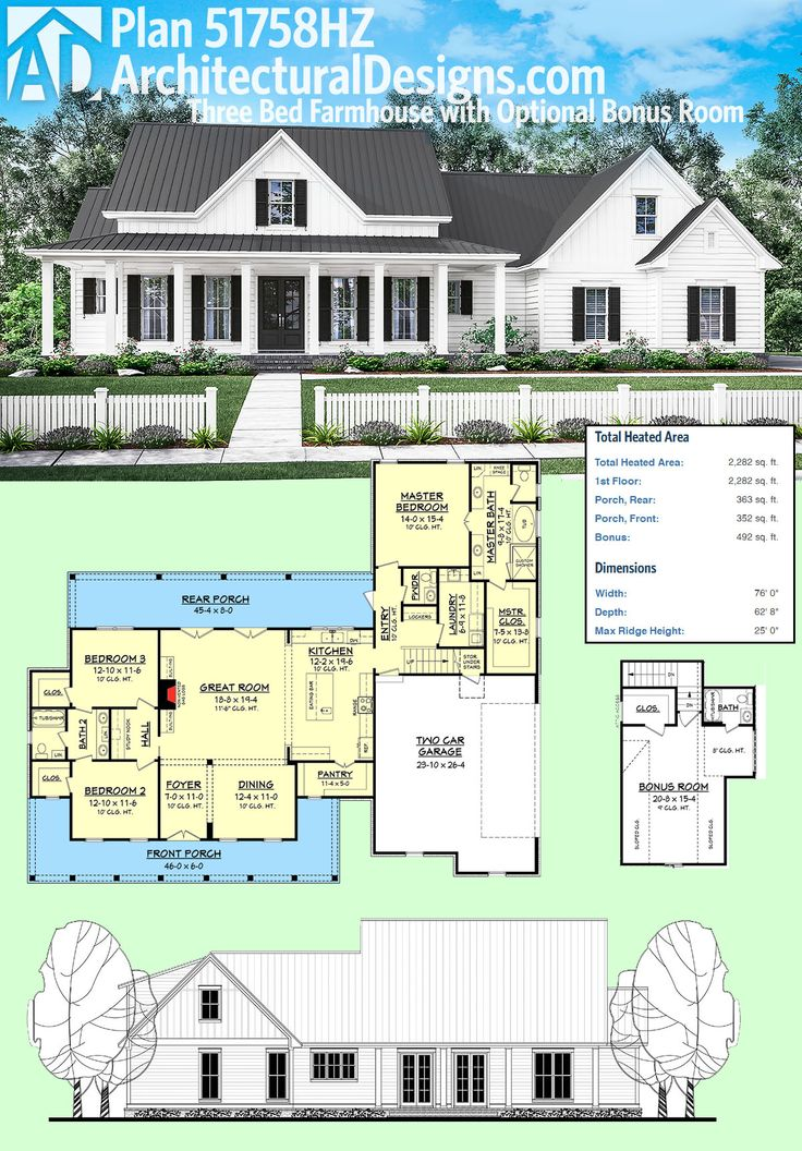 architectural designs plan 51758hz is a 3 bed farmhouse with an optional bonus room over the - Farmhouse Plans