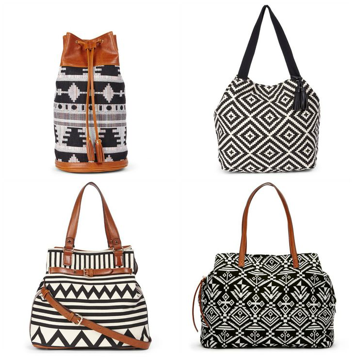 Beautiful black & white totes.