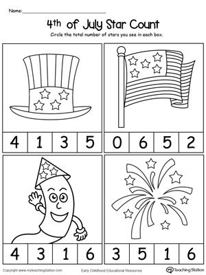 **FREE** 4th of July Star Count Worksheet. Practice number counting with this 4th of July Star count printable worksheet.