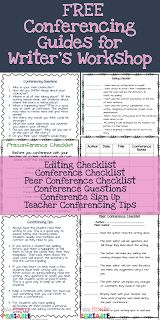 4 Ways to Run a Calm and Successful Writer's Workshop. FREE guides and checklists to help teachers and students stay on-task and meet Writer's Workshop expectations.  Conferencing guides, editing checklist, and peer conference checklist.